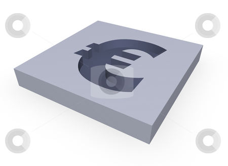 Euro stock photo, Euro sign in a block - 3d illustration by J?