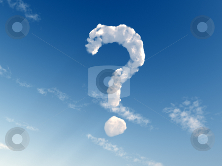 Question stock photo, Question mark on blue sky - 3d illustration by J?