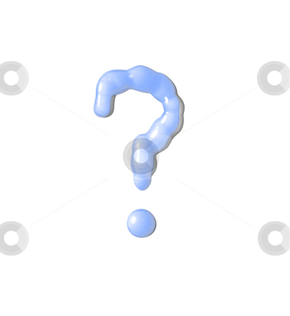 Question mark stock photo, Liquid question mark on white background - 3d illustration by J?