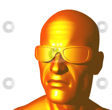 Copper head stock photo, Human copper head on white background - 3d illustration by J?