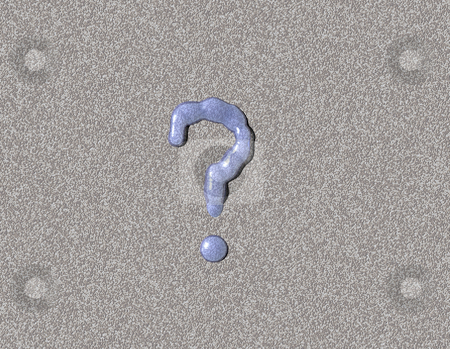 Quest stock photo, Liquid question mark on stone background - 3d illustration by J?