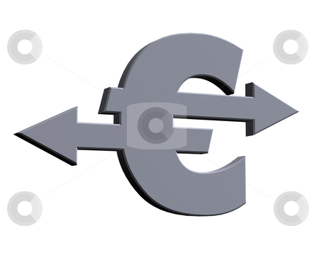 Euro sign stock photo, Euro sign with pointers - 3d illustration by J?