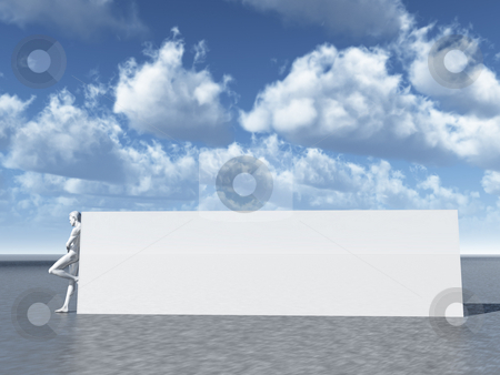 Blank sign stock photo, Big blank sign and human figure - 3d illustration by J?