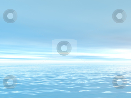 Ocean stock photo, Water landscape in blue - 3d illustration by J?