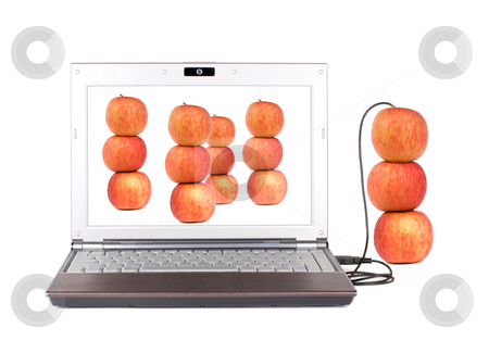 Upload and Copy real apple stock photo, Upload and Copy real apple into laptop by USB by Lawren