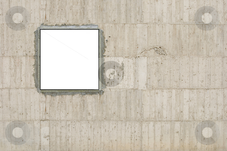 Blank canvas and concrete wall stock photo, Blank canvas on concrete wall by Lawren