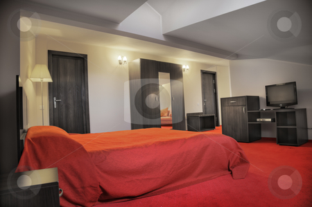 Hotel bedroom stock photo, Hotel bedroom in colors red and grey empty by Adrian Costea