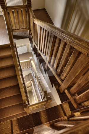 Stairs stock photo, Wood stairs in spiral in the hotel by Adrian Costea