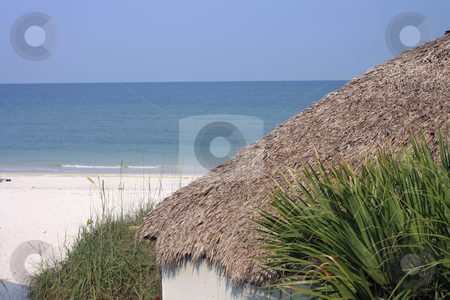 Beach house stock photo, Photographs showing part of a beach house with the sea in the background by Carlos Melillo