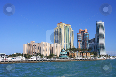 Buildings in the Bay of Biscayne stock photo, Photographs of a group of buildings that stand out in Biscayne Bay in Miami, Florida. by Carlos Melillo