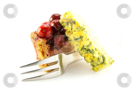 Slice of Pork Pie with Blue Cheese and Fork stock photo, Slice of pork pie, blue cheese and a fork with clipping path on a white background by Keith Wilson