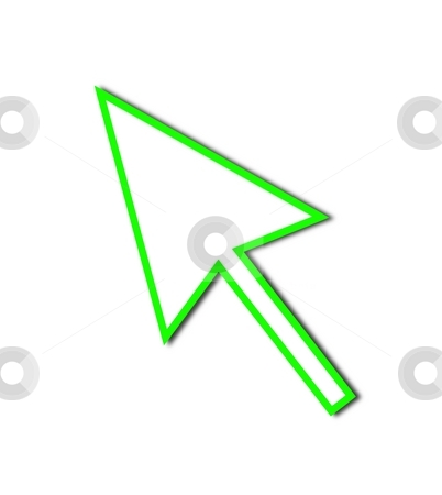Cursor Arrow Mouse Green Line stock photo, Cursor Arrow for the use with mouse or other pointer. by Henrik Lehnerer