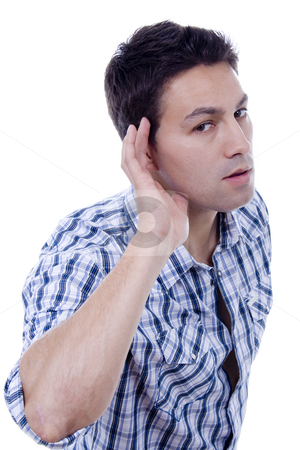 Ear man stock photo, Man with a ear expression white isolate by Marc Torrell