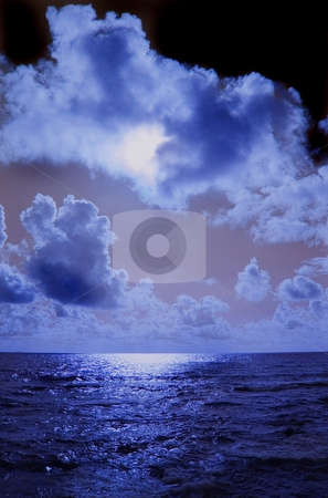 Sky stock photo, Dark sky over the dark ocean by Marc Torrell