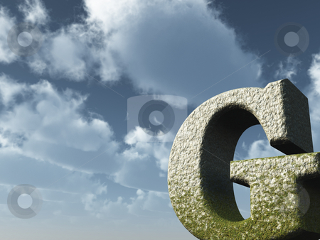 Letter G stock photo, Letter G rock in front of blue sky - 3d illustration by J?