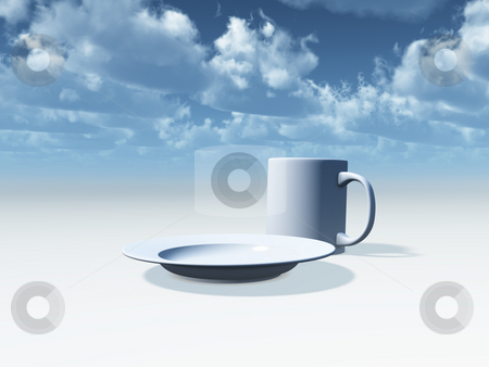 Breakfast stock photo, Plate and mug in front of cloudy blue sky - 3d illustration by J?