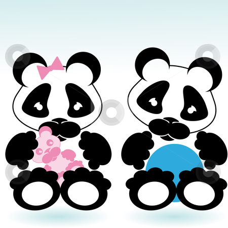 Panda boy and girl stock vector clipart, Cartoon style panda boy and girl with toys by Karin Claus