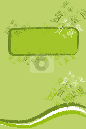 Green butterfly banner stock vector clipart, Background with green butterfly banner with lot of copy space by Karin Claus