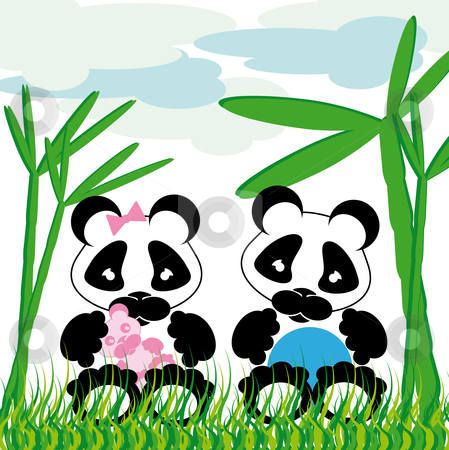 Panda cuddles with bamboo stock vector clipart, Sweet panda cuddles with bamboo grass and cloud background by Karin Claus