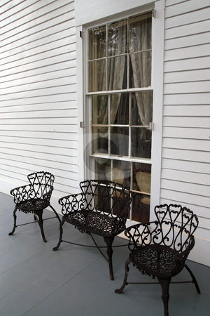 Iron furniture stock photo, Elegant wrought iron furniture of historic homes by Jack Schiffer
