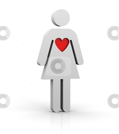 Woman with a big heart stock photo, Woman with a red big heart by Nuno Andre