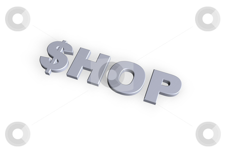 Shop stock photo, Shop text in 3d on hite background by J?