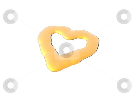 Golden heart stock photo, Liquid golden heart on white background - 3d illustration by J?