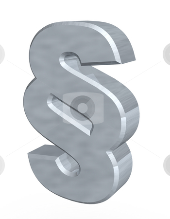 Law stock photo, Metal paragraph symbol - 3d illustration by J?