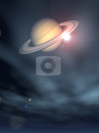 Saturn stock photo, The planet saturn on star sky - 3d illustration by J?