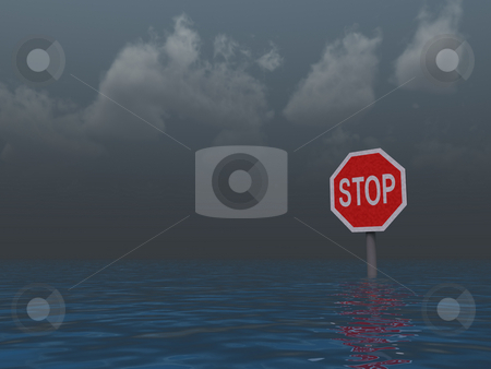 Stop sign stock photo, Stop sign at water landscape - 3d illustration by J?