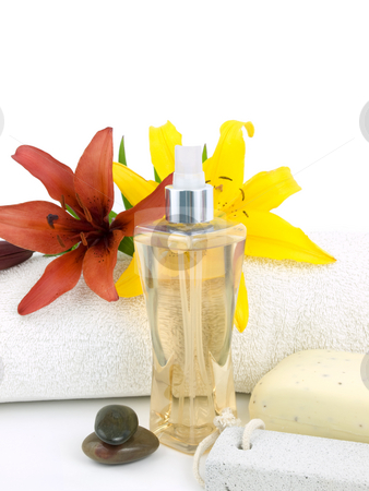 Spa background stock photo, Spa background with perfume on a white background by John Teeter