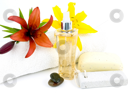 Spa Setting stock photo, Spa setting with perfume rocks and flowers on a white background by John Teeter