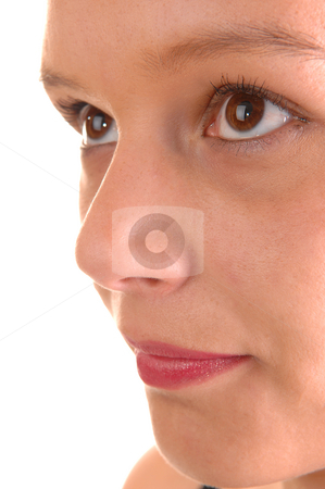 Girls half face. stock photo, The half face of a beautiful young woman whit her eyes and red lips on white background. by Horst Petzold