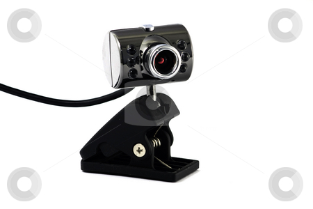 Web-cam stock photo, Computer camera, with a clip, isolated on white by Arek Rainczuk