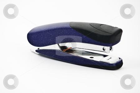 Stapler stock photo, Blue office stapler, isolated over white by Arek Rainczuk