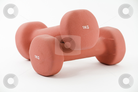 Pair of pink barbells stock photo, Pair of pink, one kilogram barbels, isolated on white by Arek Rainczuk