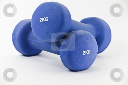 Pair of blue barbells stock photo, Pair of two kilogram, blue barbells, isolated on white by Arek Rainczuk