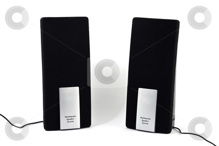 Two speakers stock photo, Two black, mini, computer speakers, isolated on white by Arek Rainczuk