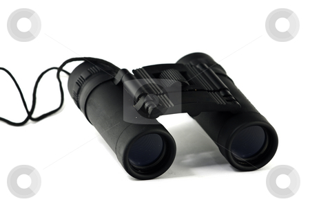 Binoculars stock photo, Pair of small, black binoculars, isolated on white by Arek Rainczuk