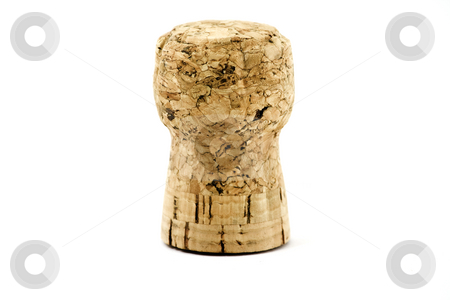 Champagne cork stock photo, Single champagne cork standing, isolated on white by Arek Rainczuk