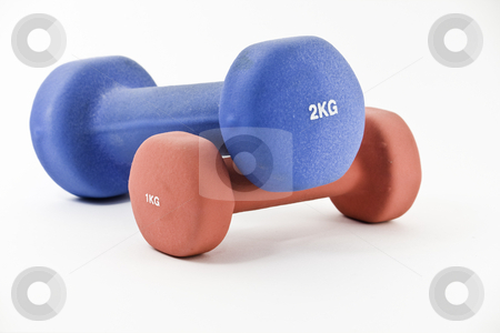 Blue and pink barbells stock photo, Pair of one kilogram, pink and two kilogram, blue barbell, isolated on white by Arek Rainczuk