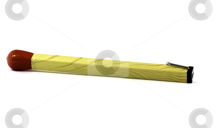 Lighter match stock photo, Novelty lighter stylized as match, isolated on white by Arek Rainczuk