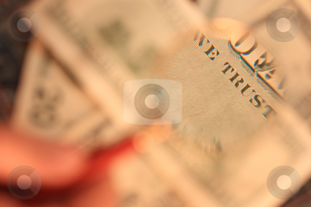 The back side of the100 usd banknote is under a magnifying glass stock photo, The back side of the one hundred U.S. dollars banknote is under the examination of the handheld magnifying glass by Andrey Yanevich