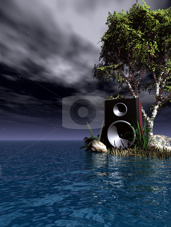 Star sound stock photo, Loudspeaker at the ocean - 3d illustration by J?