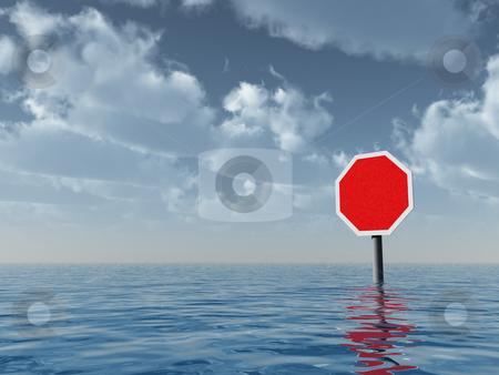 Blank stop sign stock photo, Blank stop sign at water landscape - 3d illustration by J?