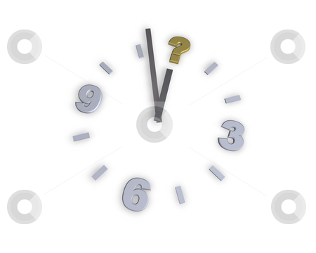 Question stock photo, Clock with question mark symbol - 3d illustration by J?