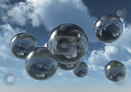 Fly stock photo, Glass balls fly at the sky - 3d illustration by J?