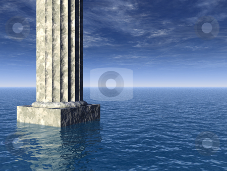 Atlantis stock photo, Old pillar at the ocean - 3d illustration by J?