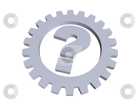 Question mark stock photo, Question mark and gear wheel - 3d illustration by J?