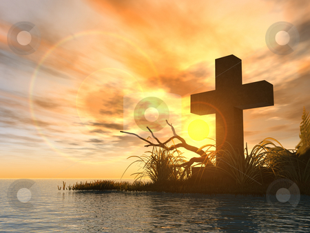 Holy cross stock photo, Holy cross in the sunset - 3d illustration by J?